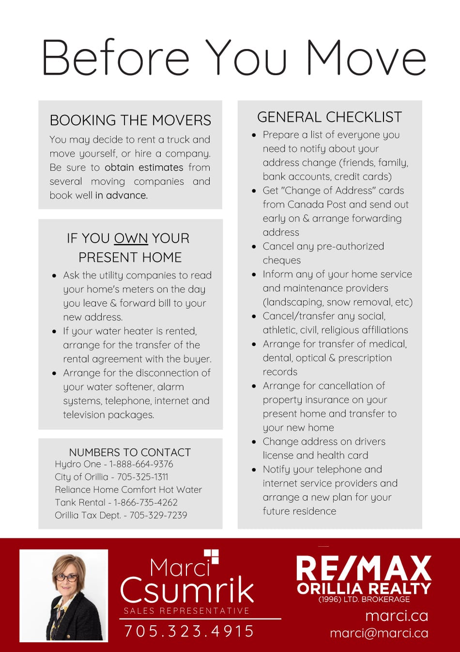 Before You Move Checklist
